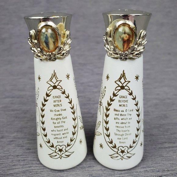 Vintage Salt Pepper Shakers Jesus Mary Religious
